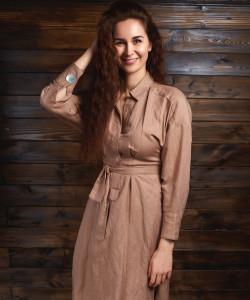 Простое льняное платье